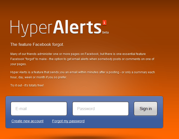 signup NEW APP HYPER ALERTS   FREE FACEBOOK FAN PAGE NOTIFICATIONS