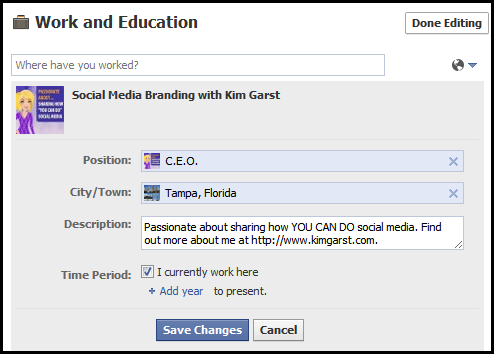 5 Kim Garst1 How to Add Your Facebook Fan Page to Your Personal Profile Employer Link