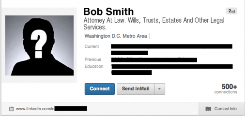 "BobSmithTaglineBEFORE 506x240 How To Write A ""Sticky"" LinkedIn Profile Summary"