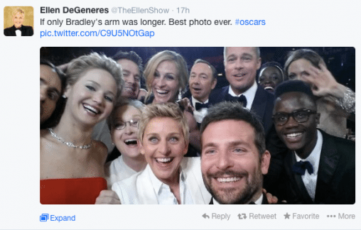 ellen 508x324 6 Genius Ways To Use Selfies In Your Marketing