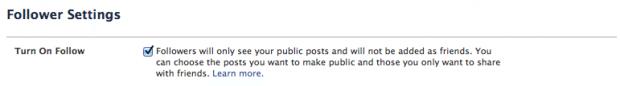 facebook following settings