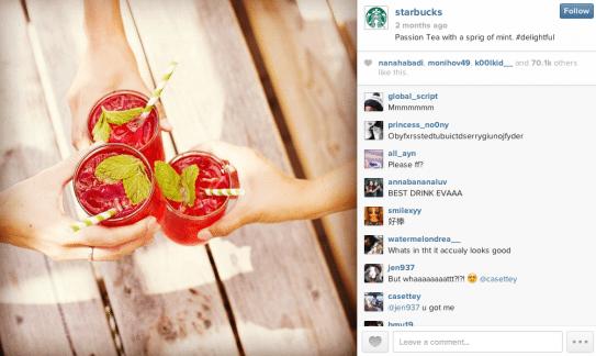 starbucks using instagram