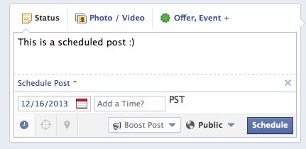 scheduling on facebook