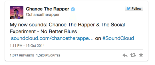 Chance the Rapper Twitter Audio Card