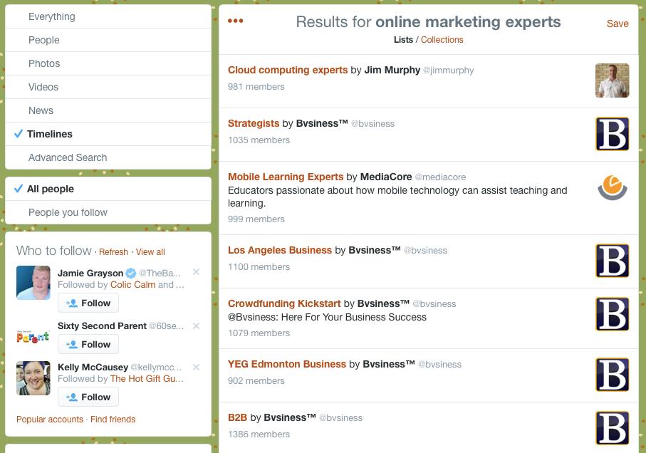 Actual Twitter List Screenshot