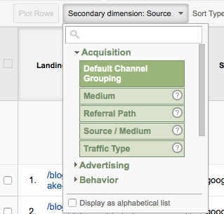 Google Analytics Secondary Dimension