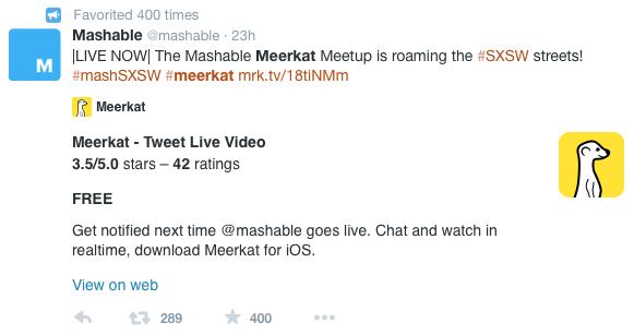 Live-stream industry events Meerkat example