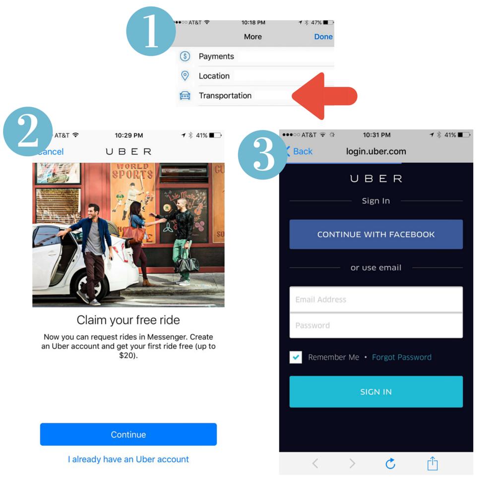 Steps to requesting Uber in Facebook messenger