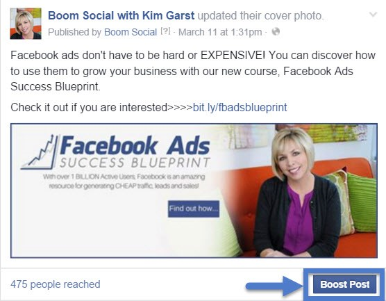 Boosting Facebook Ads