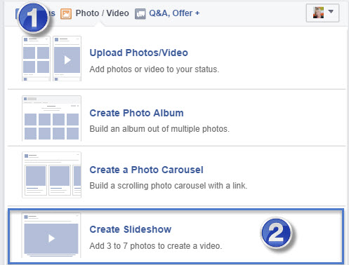 Facebook's slide show option turns photos into videos
