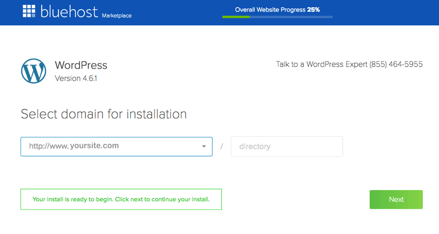 bluehost wordpress installation complete