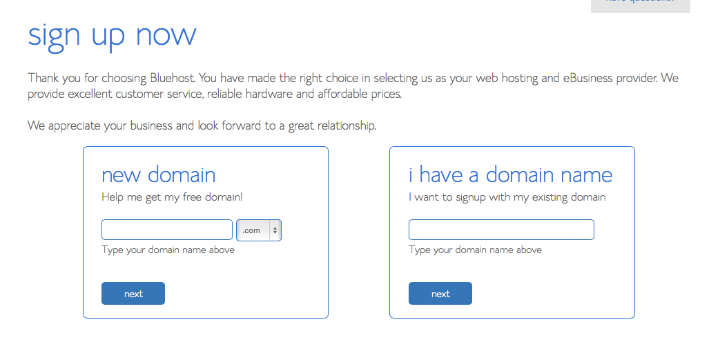 how to sign up for a bluehost hosting account