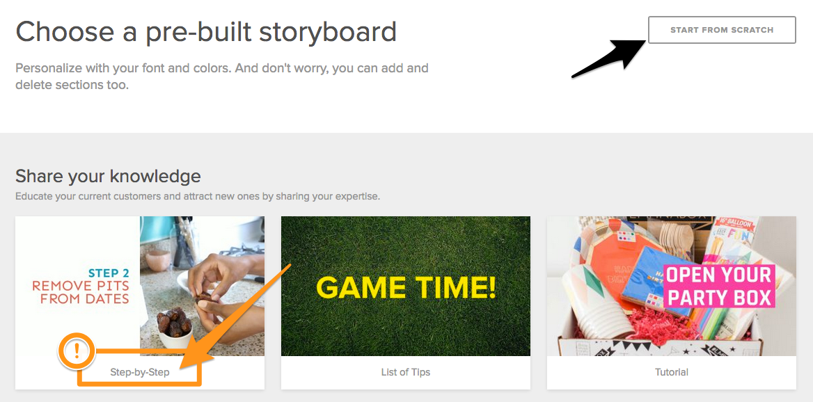 Choose a pre-built Animoto storyboard
