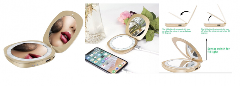 Compact Mirror with Power Bank