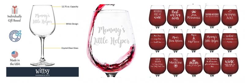 """Wittsy Glassware """"Mommy's Little Helper"""" Wine Glass"""